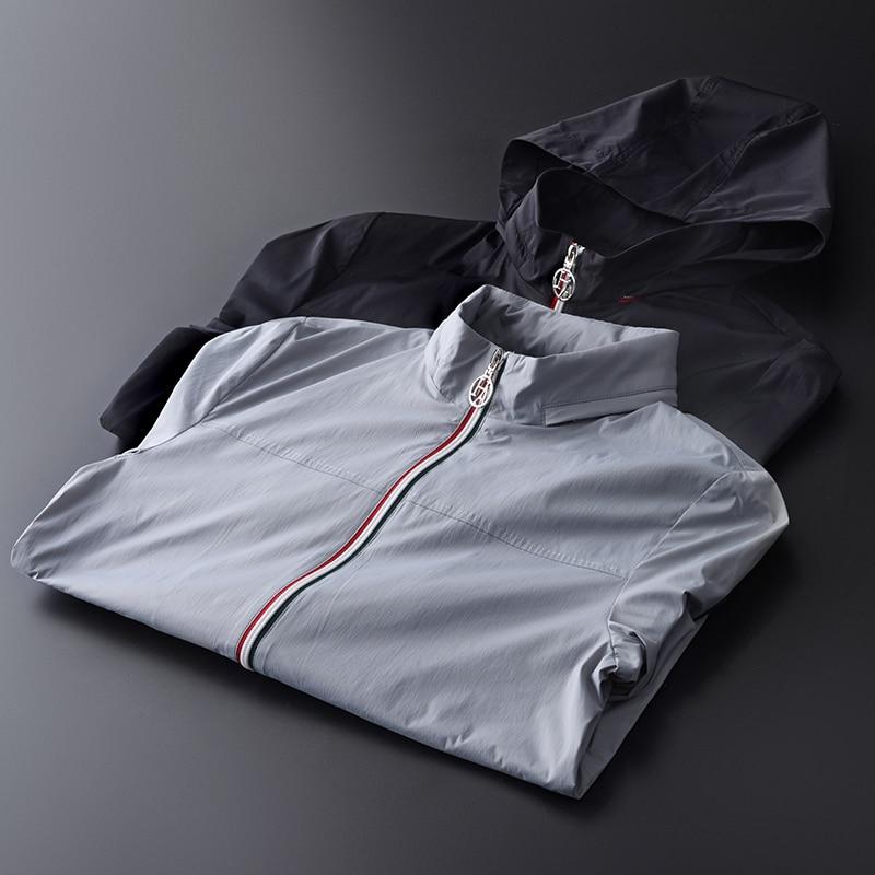 Minglu chaquetas ocultas con capucha para hombre de talla grande 4xl primavera contraste Color cremallera con solapa chaquetas y abrigos para hombre abrigos de lujo para hombre