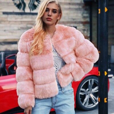 Women New Free Shipping Fashion Faux Fur Coat MT0801