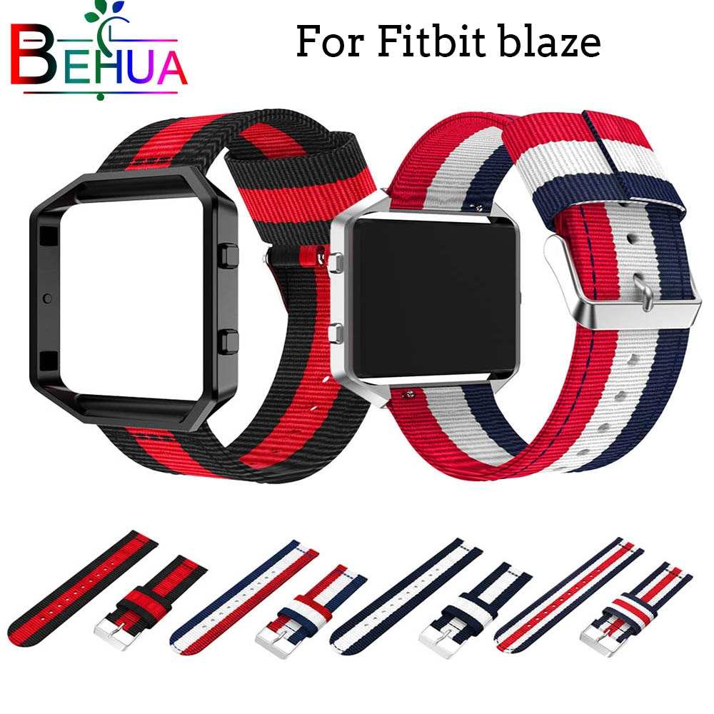 Woven Nylon Sport Strap with Case Cover Bracelet Adjustable Wristband For Fitbit Blaze smart watch Replacement watch strap band men and women sport casual edition soft silicon rubber sports watch band wrist strap for fitbit blaze with metal buckle frame