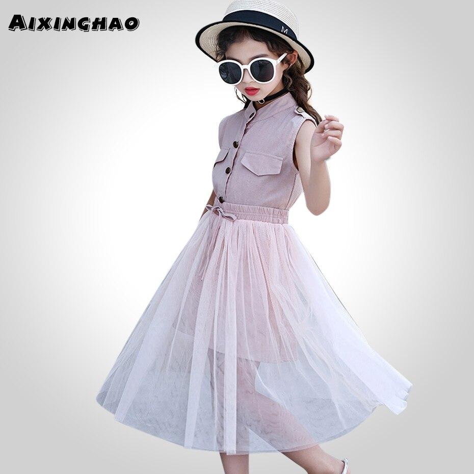 Комплект детской одежды для девочек, однотонное платье + сетчатая юбка летняя одежда для девочек детская одежда для подростков 6, 8, 10, 12, 13, 14 лет