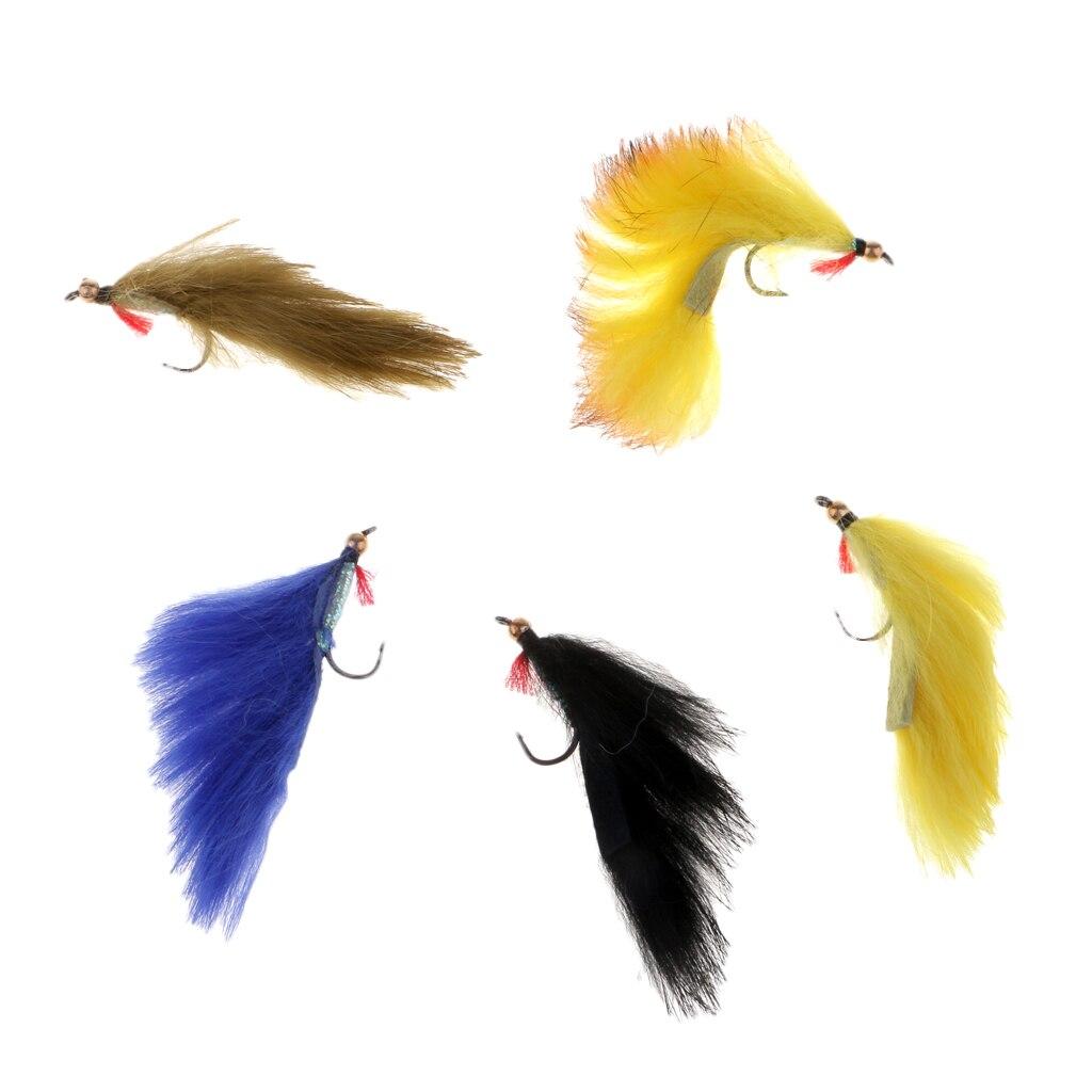 5 uds 5 colores mezclados Zonker mosca serpentina moscas para trucha Bass Senuelos de pesca leurres de peche