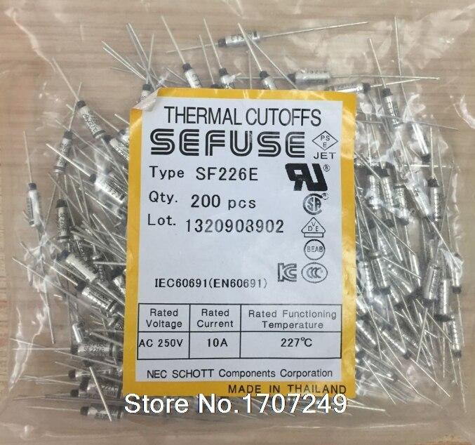 Envío gratis 10 unids/lote nueva SF226E SEFUSE shorts fusible térmico 227C 227 grados 10A 250V de Metal fusible SF226E