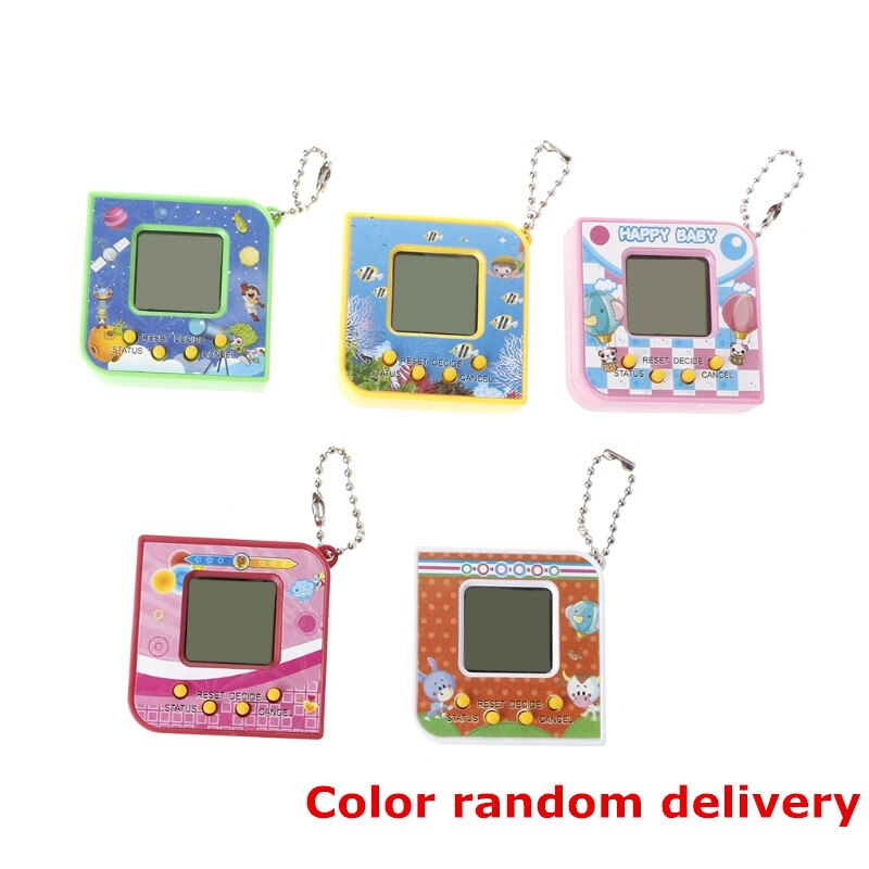 Cute Square Shape LCD Virtual Digital Pet Electronic Game Machine With Keychain Gift