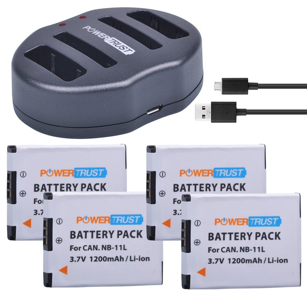PowerTrust NB-11L NB 11L 4 Uds 1200mAh NB11L Cámara batería + cargador Dual USB para Canon IXUS 125 240HS A3400 A4000 A2300 A2400 Z1