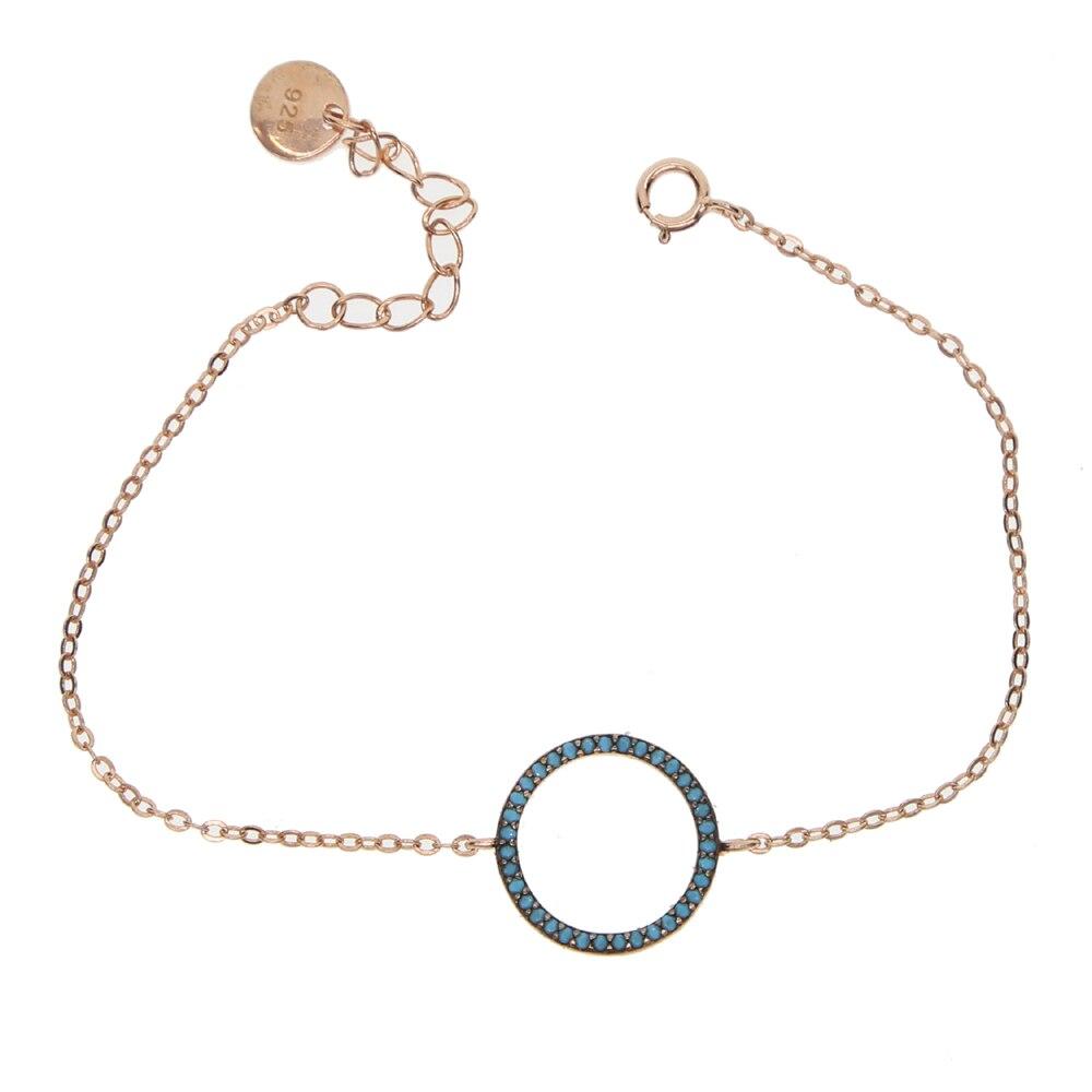 Micro pave azul turquesa pedra círculo redondo rosa cor de ouro 925 prata esterlina metal simples pulseira geométrica