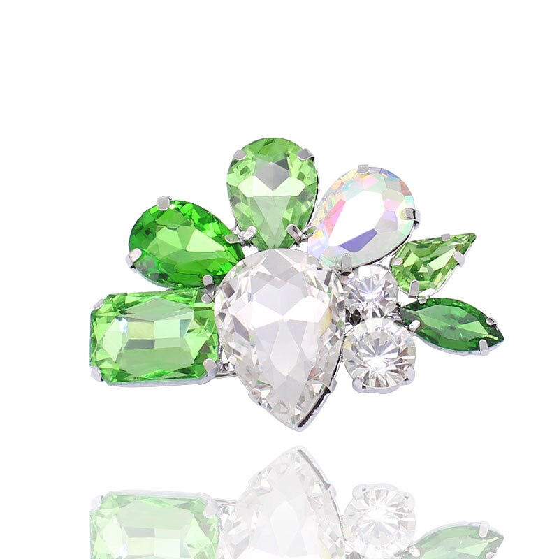 Hecho de cristal grande broches para ramo verde negro rosa azul Pines de Color de alta calidad hecho a mano de joyería las mujeres regalos BRH1012