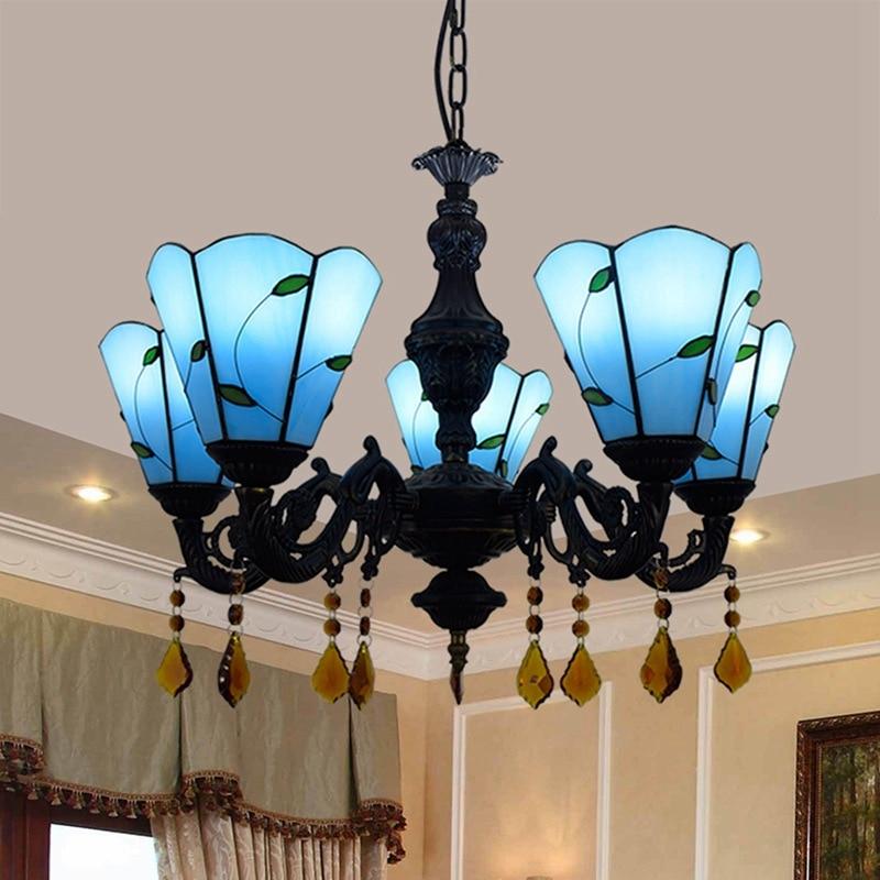 5 lámparas colgantes de cristal de estilo europeo minimalista Mediterráneo moderno Tiffany de colores para sala de estar o bar