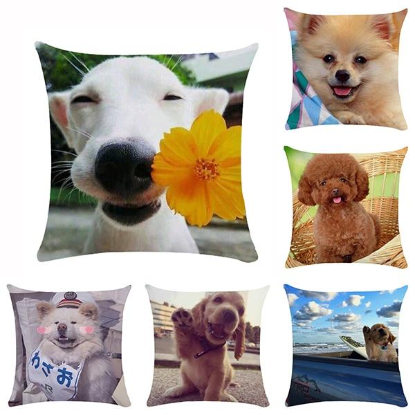 45*45cm adorável cão animal design capa de almofada adequado para decoração de casa sofá quadrado capa de almofada
