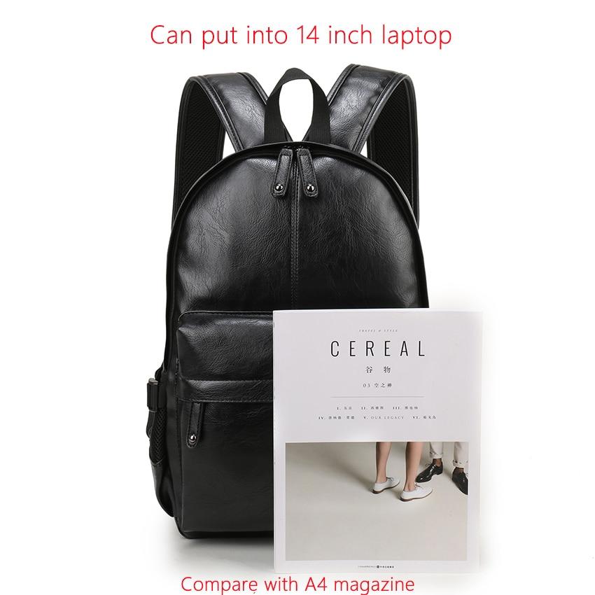 Lelaki beg galas kulit sekolah beg fesyen kalis air beg kasual beg - Beg galas - Foto 6