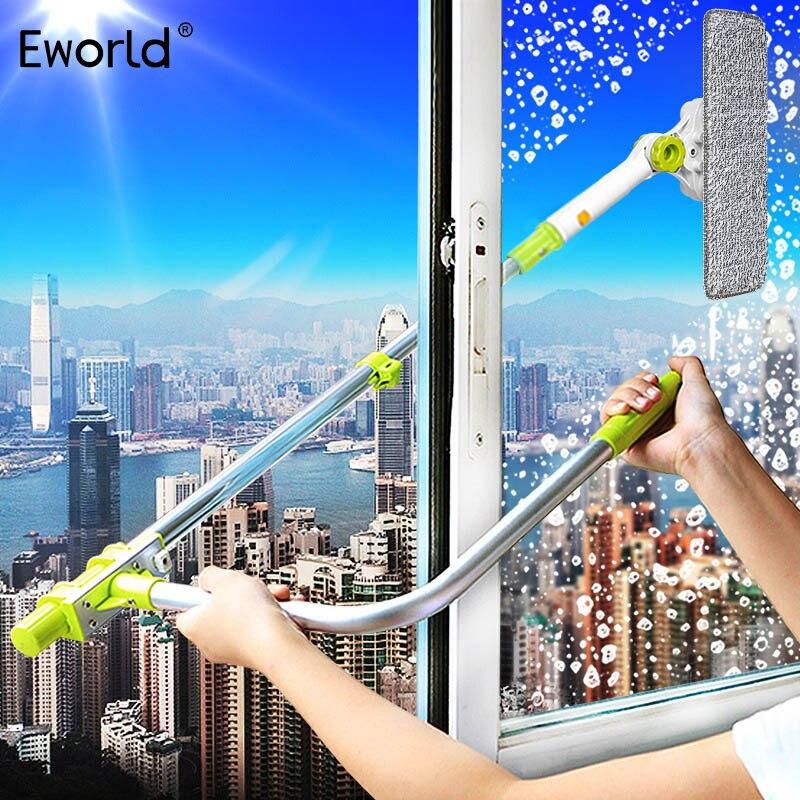 Eworld quente atualizado telescópica high-rise janela limpador de vidro escova para lavagem janela poeira escova limpa janelas hobot