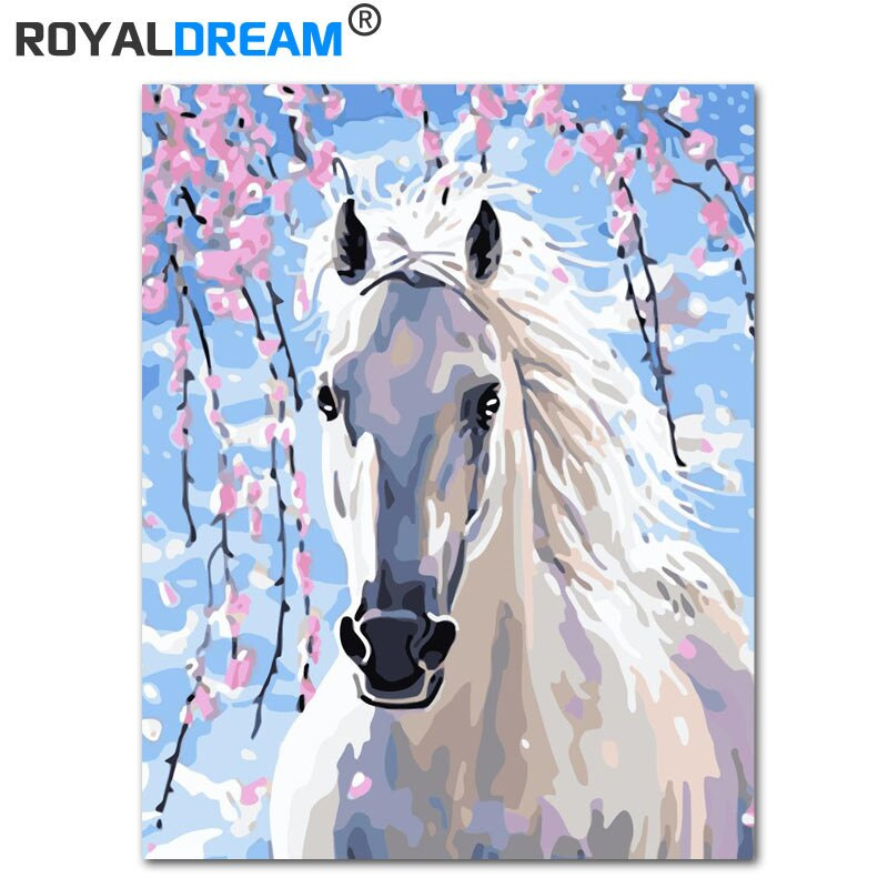 ROYALDREAM DIY enmarcado pintura al óleo por números caballo blanco lienzo pintura para sala de estar arte de pared hogar