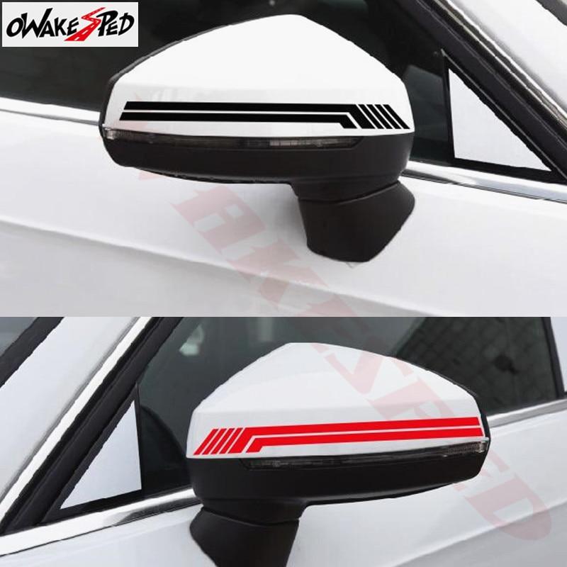 2 шт. гоночный спортивный Стайлинг автомобиля обе стороны зеркало заднего вида полосы виниловая наклейка наклейки для Audi A3 A4 A5 A6 Q3 Q5 Q7 TT TTRS