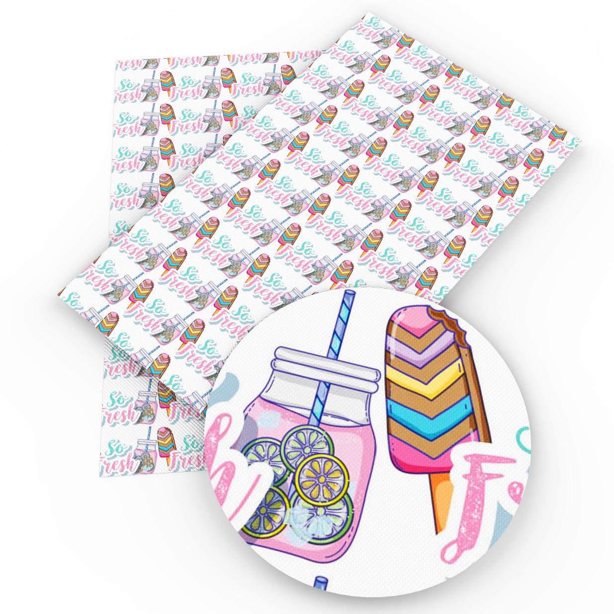 Accesorios David, 20x34cm, tarta de helado, piña, piel sintética falsa, tela DIY, prenda decorativa, bolsas de lazo, 1Yc3704