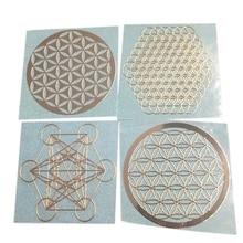 4 pièces/ensemble nouveau métal énergie décor autocollant fleur de vie