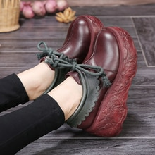 2017 high quality handmade shoes genuine leather single shoes female first layer of cowhide wedges f