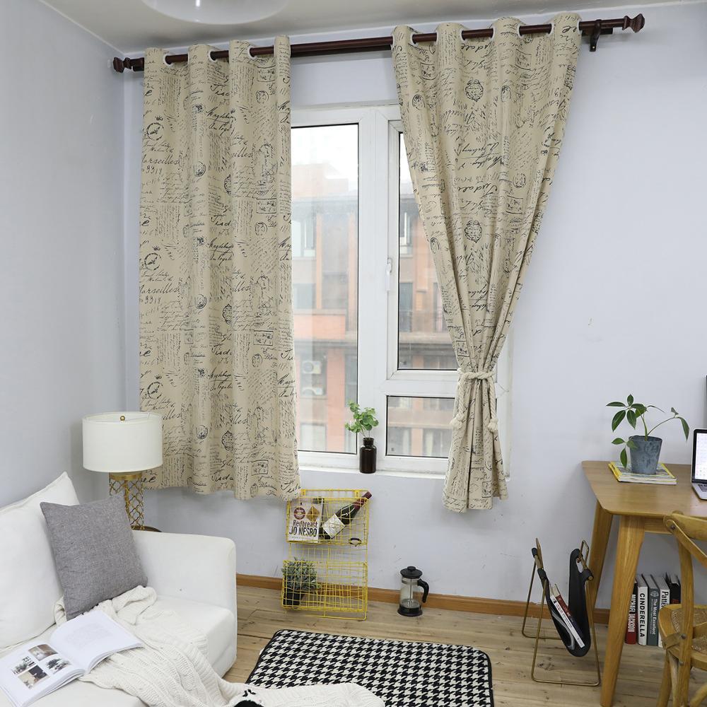 مخطوطة نمط الستائر ل غرفة نوم الستائر غرفة المعيشة خليج نافذة القطن الكتان النهائي القماش الستائر جروميت أعلى 140x215 سنتي