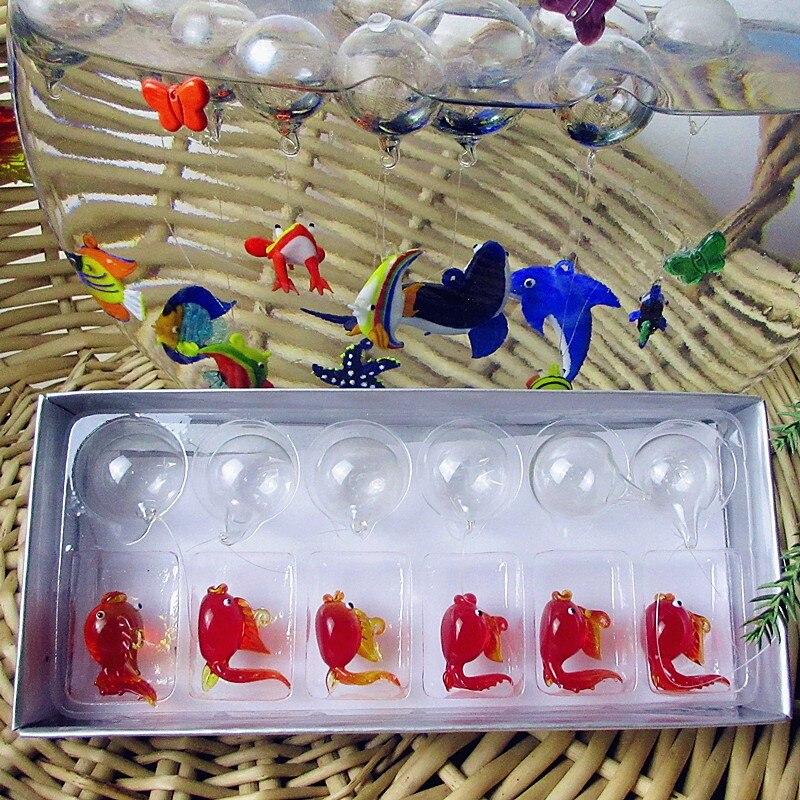 ¡Fabricante personalizado! estatuillas de peces dorados de cristal flotante encantos de acuario colgante decorativo decoración de bola flotante transparente 6 uds.