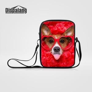Dispalang Womens Shoulder Bag Cute Pet Dog Print Mini Crossbody Bag Rose Zipper Kids Messenger Bags Girls Casual Travel Bag