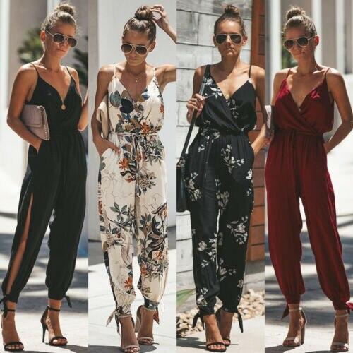 Women Boho Floral Sleeveless Solid Fashion Vouge Sweet Split Bowknot Cool Tank Jumpsuit Romper Bodysuit Pencil Pants Trousers