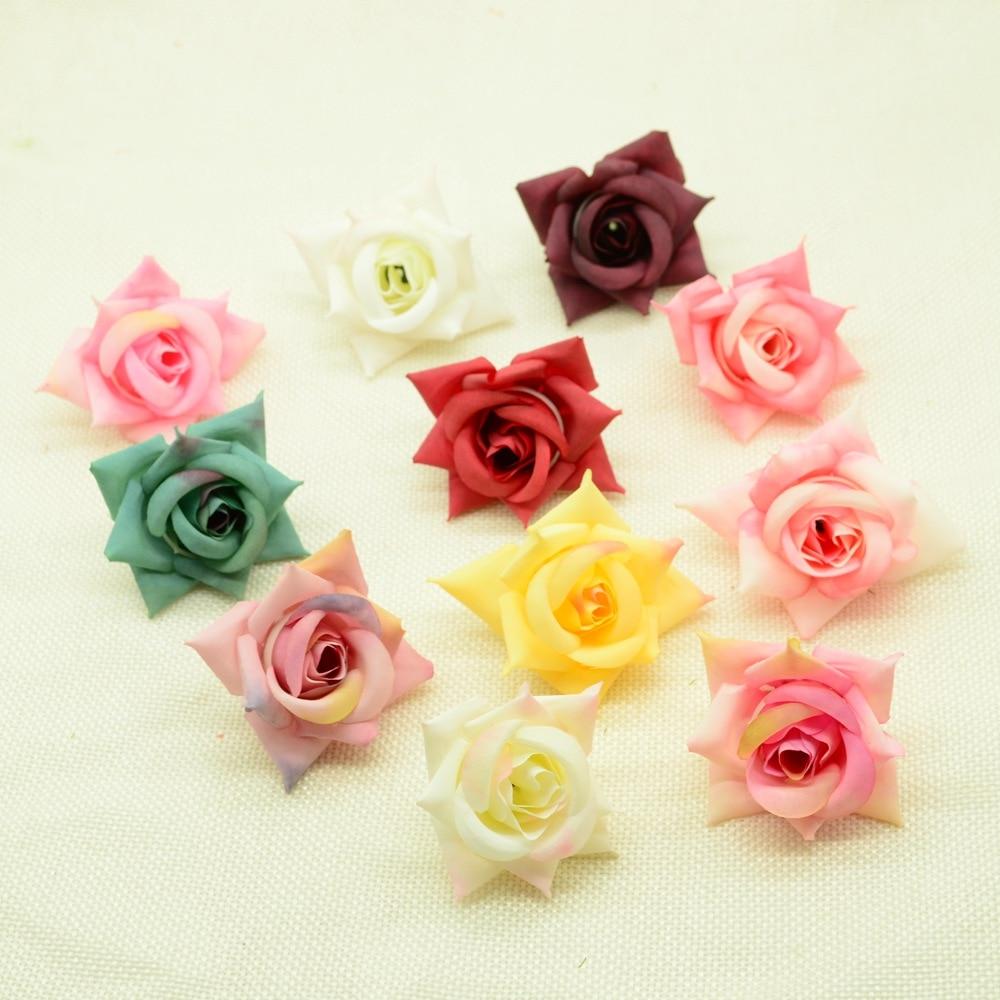 10 Uds 5CM flores artificiales decoración de Navidad de año nuevo para el hogar Boda nupcial rosas de seda falso broche maceta ornamental