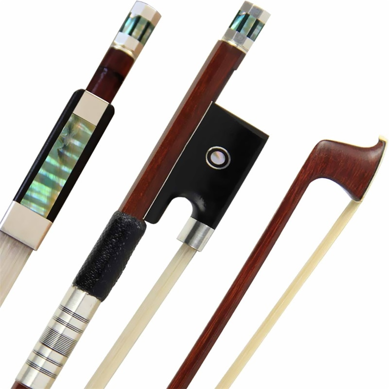 Envío Gratis Pro Brasil arco de Violín de madera 4/4 arco de violín Siberia Cola de Caballo Blanco piezas de plata mejor equilibrio Rana antigua