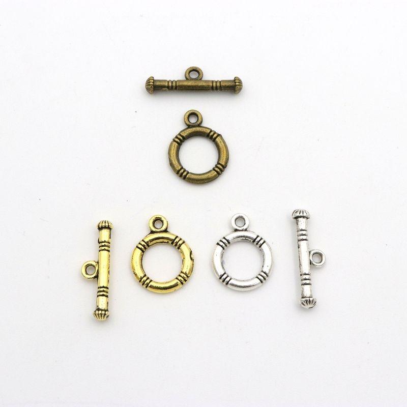 Misturado 10 conjunto de prata antiga listra círculo ot fecho para fazer jóias pulseira colar diy acessórios needlework atacado