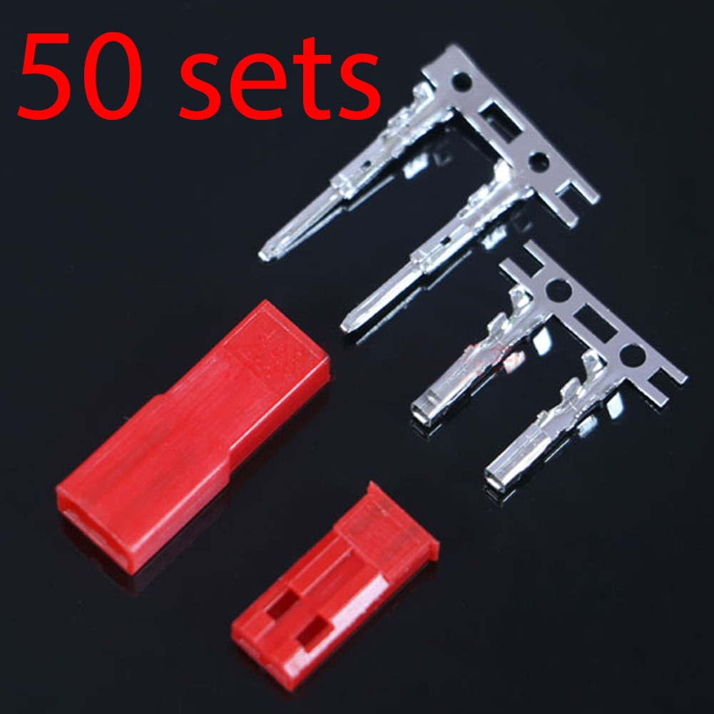 50 set/lote JST 2P conector macho Jack 2-Pin mujer hombre plegadores rc...