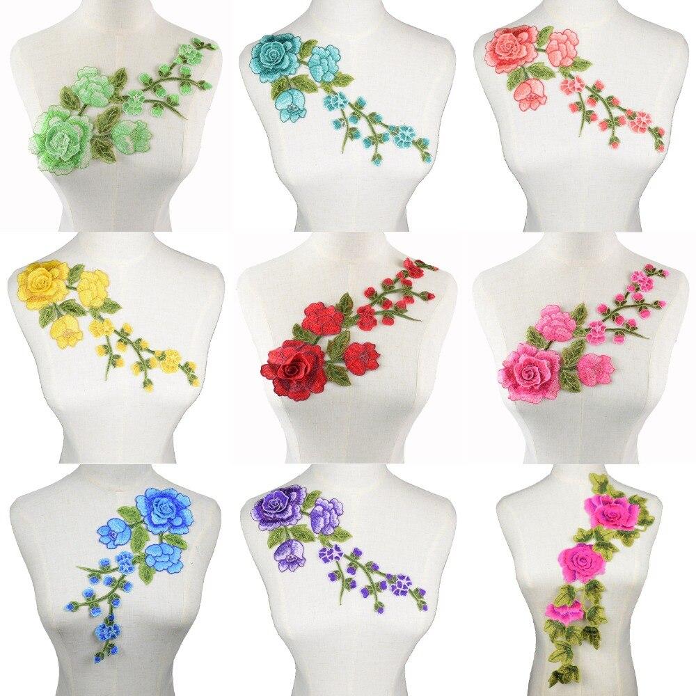 Patchs brodés à fleurs colorées Mulity 3D   Fleurs colorées, patchs brodés, vêtements Punk, appliques, accessoires vêtements bricolage, Scrapbooking