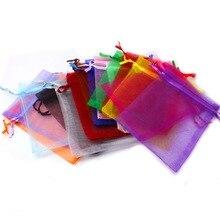 Sacs en Organza multicolores 9*12cm, petits sacs cadeaux de mariage, jolis breloques tiroirs, pochette demballage pour bonbons et bijoux, 10 pièces/lot