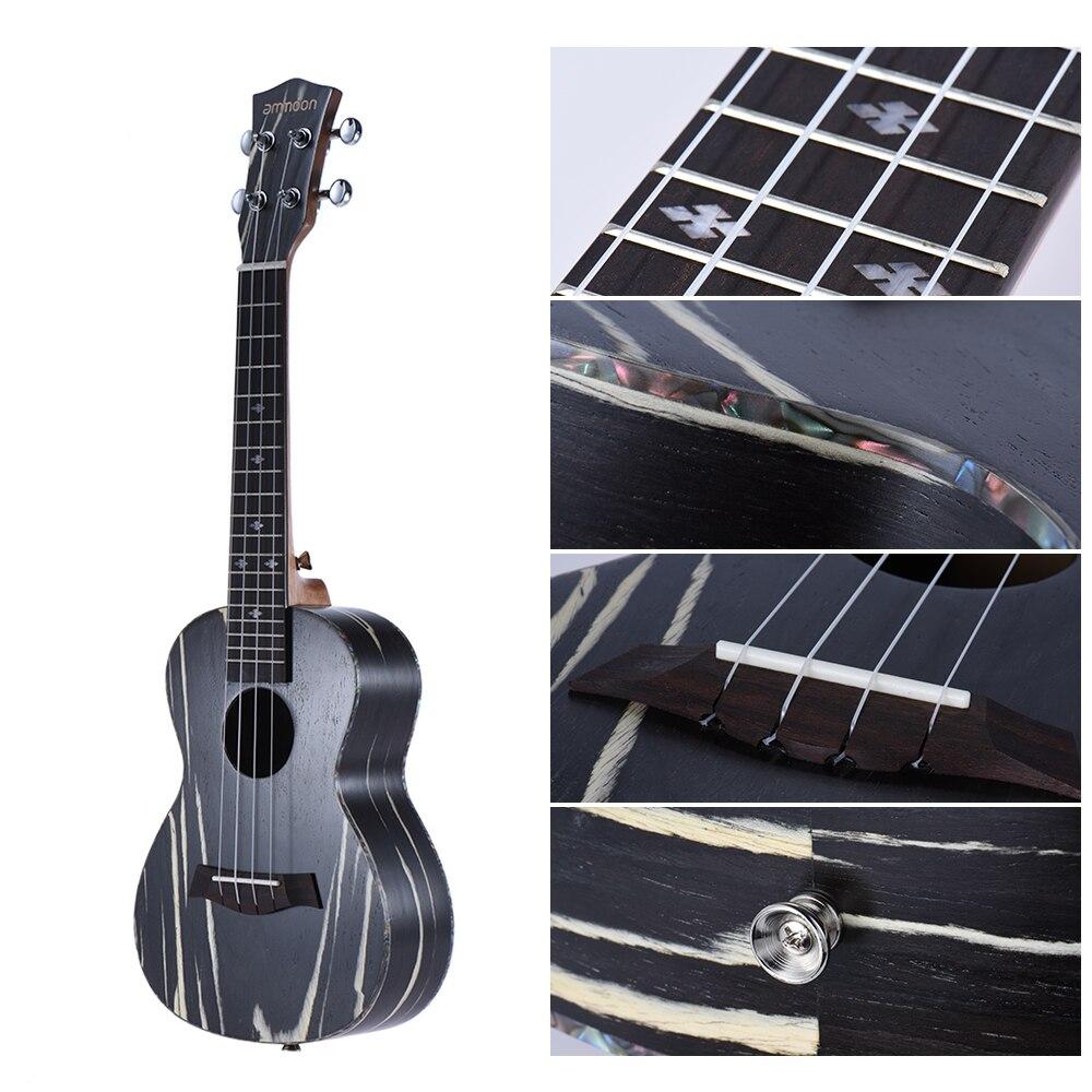 Ukelele Soprano acústico de madera de 24 pulgadas de alta calidad Ukelele Uke18 trastes 4 cuerdas cuello Okoume diapasón de palisandro