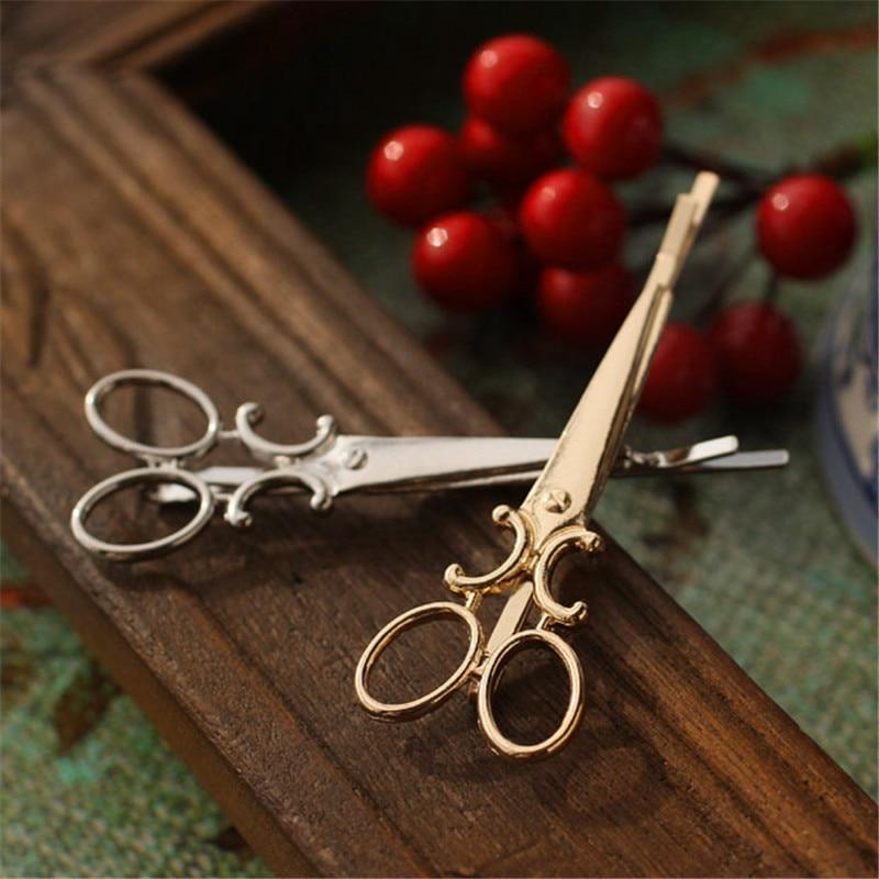 Clip de tijeras de diseño novedoso para mujer, horquillas de ramas doradas...