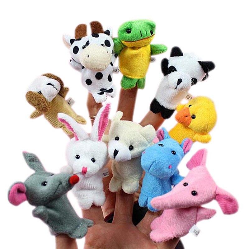 10 Uds doble con dedo de animal de pie significa incluso marioneta de mano cuentacuentos de bebé buenos juguetes de peluche títeres de dedo