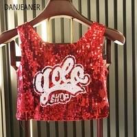 danjeaner nightclub womens hip hop ds street dance sequined shirt navel vest