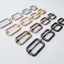 2pc Metal Heavy Duty Strong Shoulder Bag Strap Belt Web Rectangle Adjust Tri-glide Buckle Slider Loop Ring Leather Craft Repair