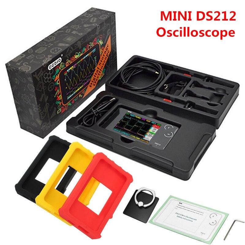 2 canales MINI DSO Nano DSO212 DS212 osciloscopio Digital portátil profesional DS 212 + sonda combinada MCX + caja soporte para anillos