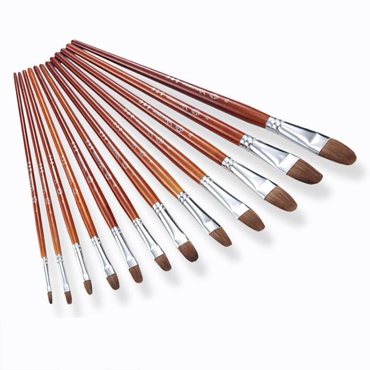 Cepillo de comadreja de cabeza redonda Zhouxinxing, 6 uds., mango de madera, Pluma de pintura al óleo, pluma de acuarela gouache, arte, cepillo para aprendizaje, suministros de pintura