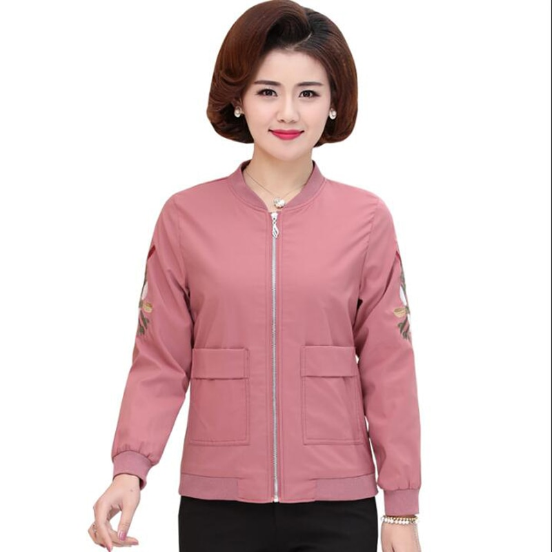 Nueva chaqueta suelta de otoño 2018 para mujer, chaqueta envejecida de talla grande para mujer, chaquetas bordadas de manga larga