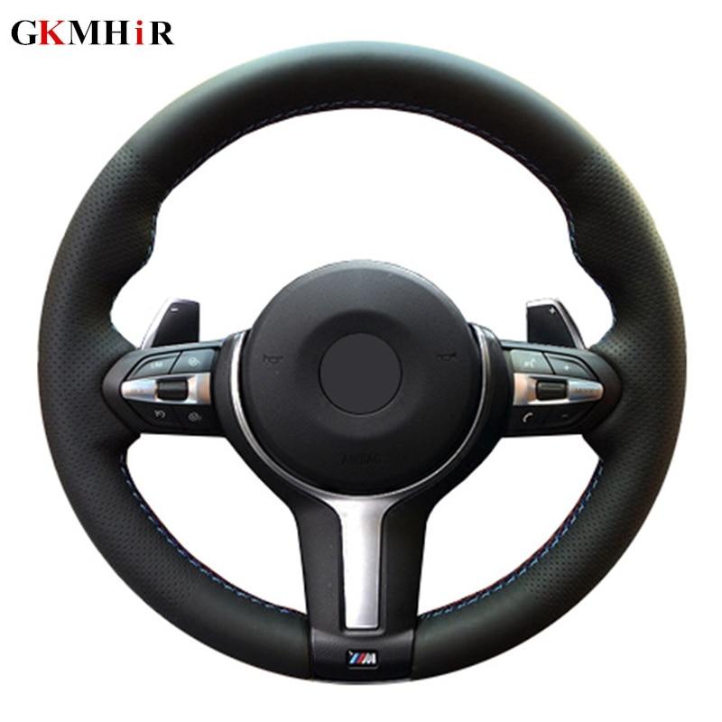 GKMHiR Artificial Leather Black DIY Car Steering Wheel Cover for BMW M3 M4 2014 - 2016 F31 428i 2015 F30 320d 328i 330i 2016