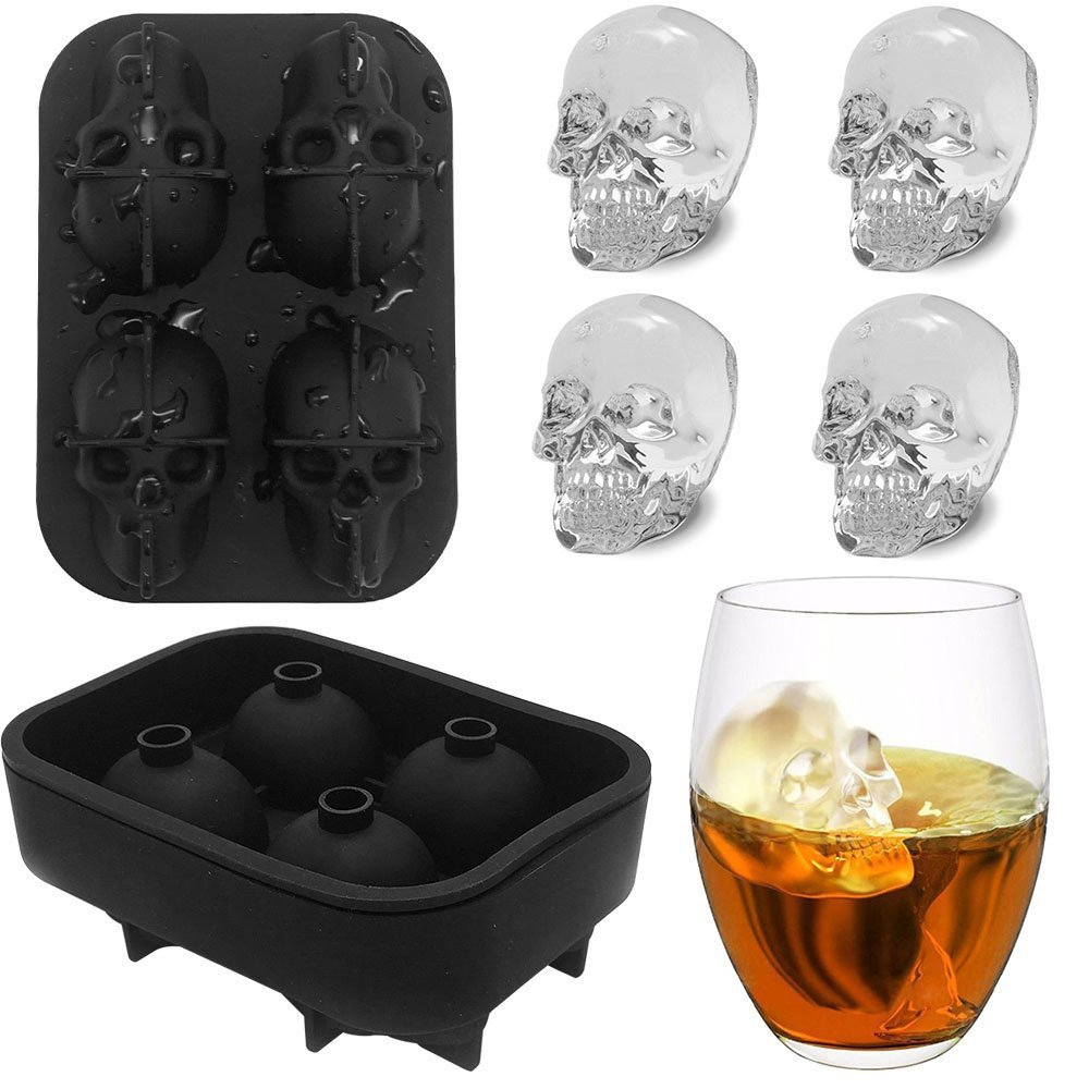 Skull ice mold for Halloween,Skull ice lattice,3D Creative New 4 Skeleton Ice Grid,