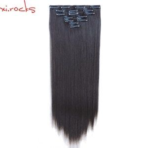 qjz13055/4A 2P Xi.rocks Synthetic Clip in Hair Extensions Straight Hairpiece Clips on the Hair Extension wigs Black Brown wig
