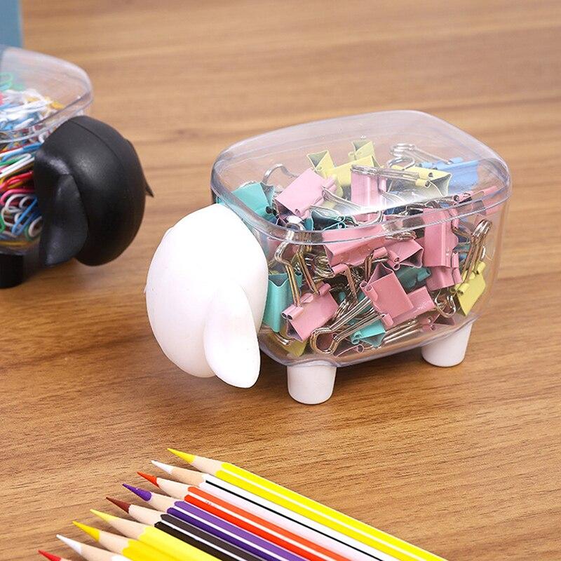 Caja de almacenamiento de plástico con forma de oveja transparente a prueba de polvo bonita creativa caja de almacenamiento de escritorio palillo de dientes caja de Clips de papel hisopo de algodón