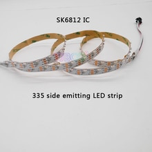 Bande lumineuse PCB, blanc IP30 DC5V 1m/5m 60led s/m 90led s/m SK6812 IC commande led émission latérale, 335 bande LED numérique LED