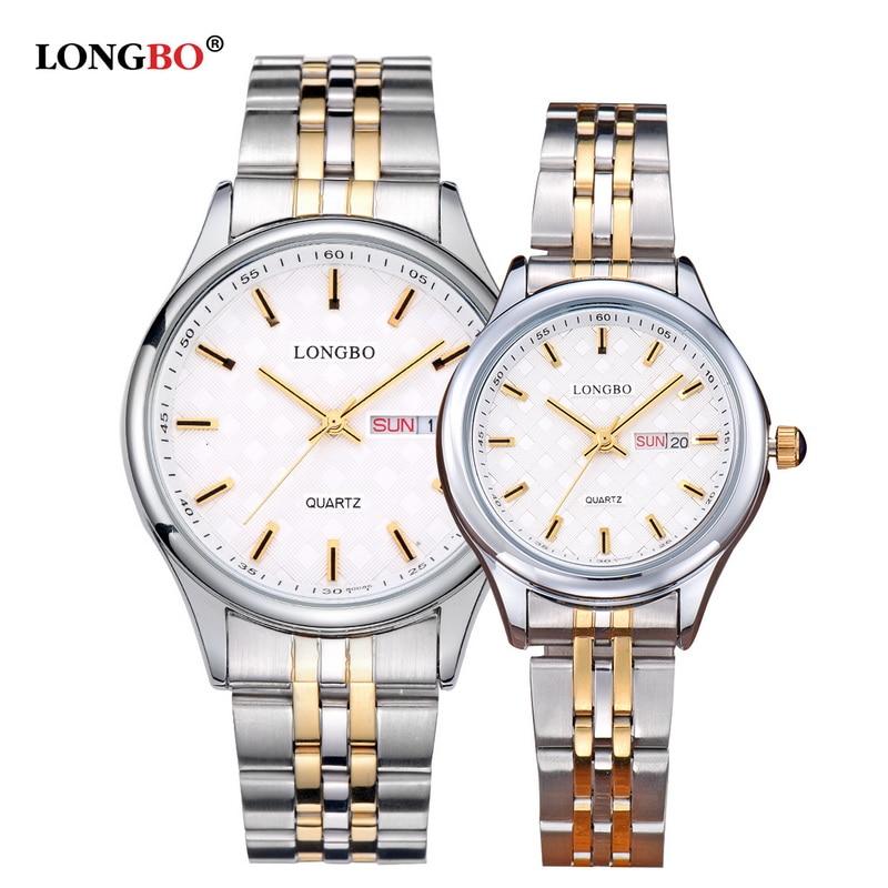 Longbo casual aço inoxidável casal relógios de quartzo reloj masculino amantes relógio de pulso com calendário data à prova dwaterproof água