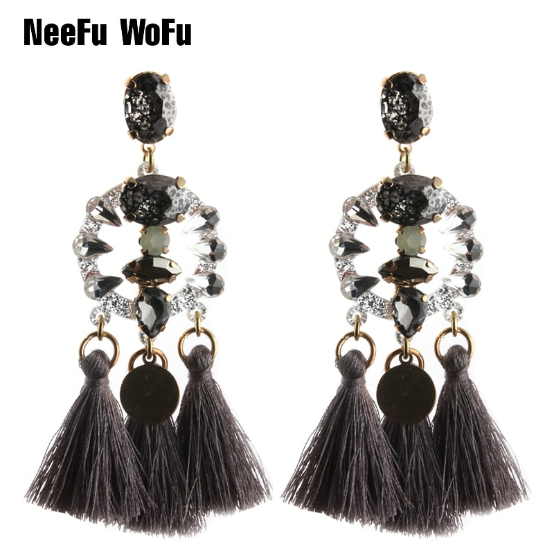 NeeFu WoFu новые длинные серьги-капли, полимерные богемные брендовые серьги с кисточками, большие серьги, большие серьги, рождественский подаро...