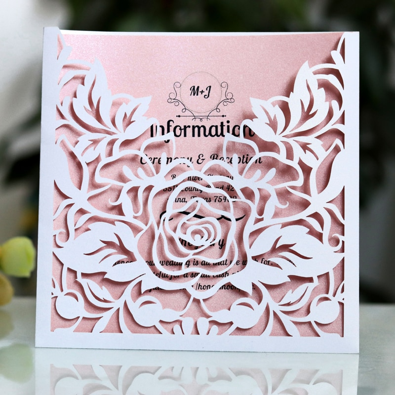 1pcs Elegant Lace Pocket Wedding Invitations Card Square Laser Cut Rose Flower Customize Greeting Card Event Party Supplies