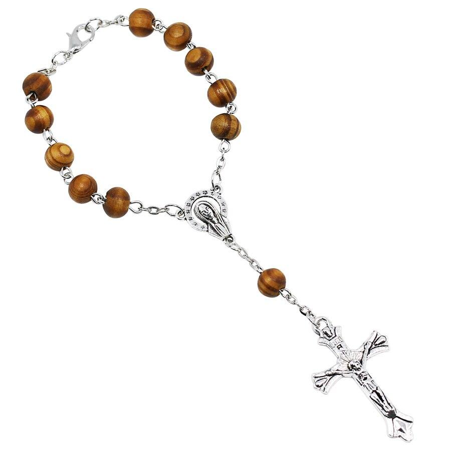 12 pçs pçs/lote mulheres religiosas 8mm contas de madeira rosário católico pulseira unisex 12 estrela mary papa rosário oração strand pulseiras