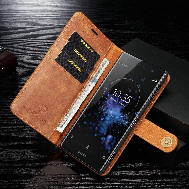 Dg. ming retro flip couro carteira capa para sony xperia xzs xz1 xz2 xz3 caso 2in1 magnético caso destacável para xz2 compacto