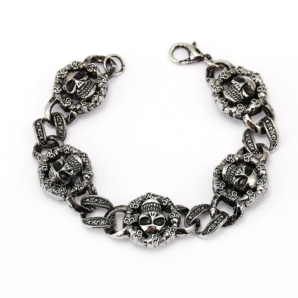 Envío Directo joyería hombre brazalete ancho esqueleto pulseras y brazaletes metal plata antigua punk pulsera de moda Unisex joyería