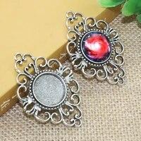 5pcslot 18mm inner size zinc alloy bohemian style necklace pendant cameo cabochon base base tray bezel blank f 020107