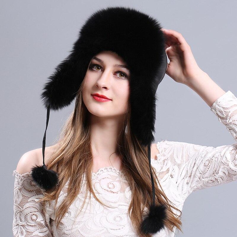 قبعة نسائية شتوية من فرو الثعلب ، قبعة دافئة وسميكة ، موضة روسية غير رسمية ، H7063